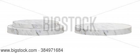 Marble Stone Stage Grunge Texture On White Background For Product Showing. 3d Illustration (clipping