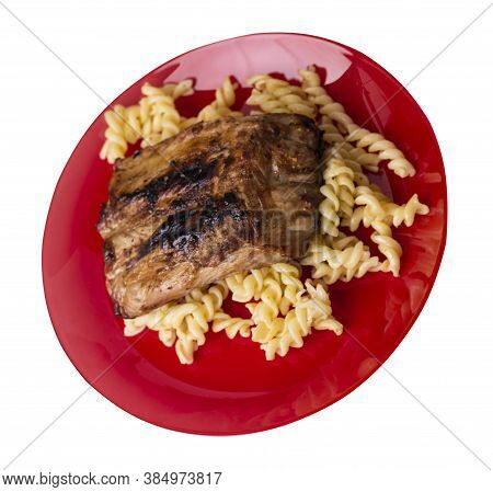 Grilled Pork Ribs With Pasta. Grilled Pork Ribs On Red Plate Isolated On White Background. Grilled P