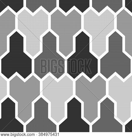 Interlocking Three Pronged Blocks. Repeated Color Puzzle Patches On White Background.. Seamless Surf