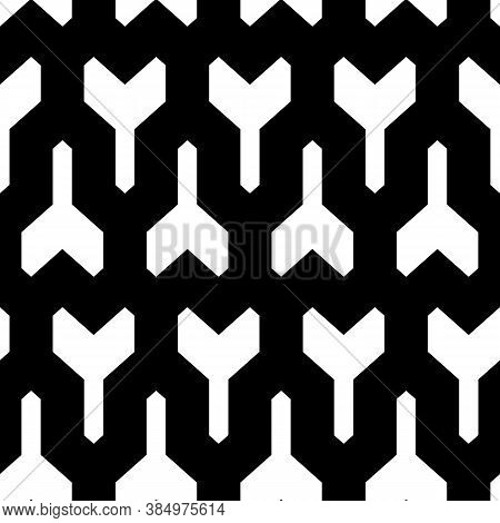 Repeated White Puzzle On Black Background. Seamless Surface Pattern Design With Mosaic Ornament. Log