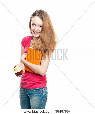 Student Girl Eating Apple.