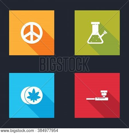 Set Peace, Glass Bong For Smoking Cannabis, Herbal Ecstasy Tablets And Smoking Pipe Icon. Vector