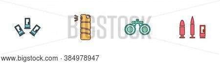 Set Cartridges, Pepper Spray, Binoculars And Bullet And Cartridge Icon. Vector