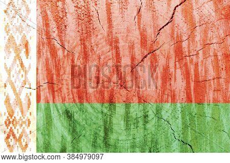 Belarus Flag Printed On Linen Fabric. National Flag Of Belarus. Belorussian National Flag On Canvas.