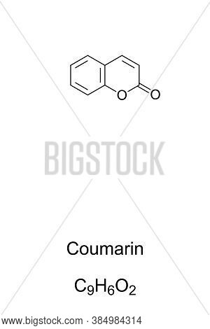 Coumarin Chemical Structure. Compound With Sweet Odor Resembling The Scent Of Vanilla. Artificial Va