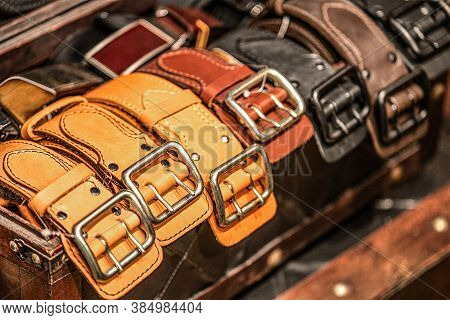 Leather Belts With Shiny Gold-plated Buckles. Handmade From Genuine Cowhide Leather
