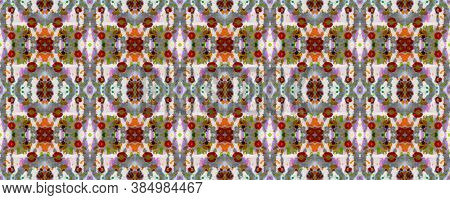 Aztec Rugs. Red, Green, Blue And Brown Seamless Texture. Abstract Ikat Design. Repeat Tie Dye Illust