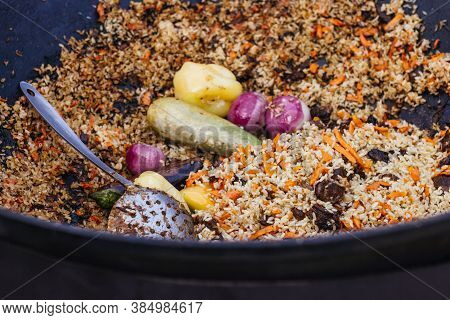 Pilaf In A Vat On An Open Fire National Gastronomy Festival Of Food
