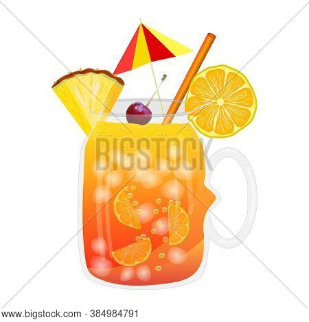 Rum Punch Cocktail Isolated On White Background. Tropical Cocktail In Glass Cup With Umbrella, Ice A
