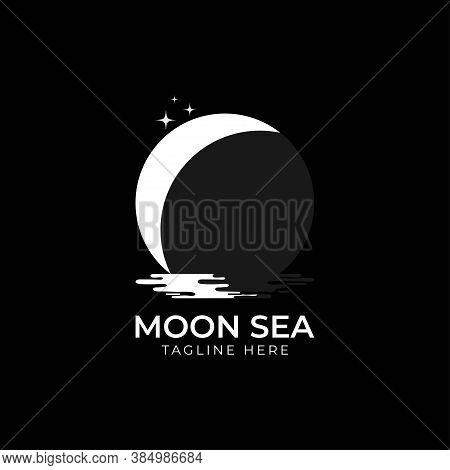 Half Moon Set Rise Sea Ocean Surface Water Logo Template