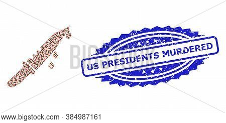Us Presidents Murdered Unclean Stamp Seal And Vector Recursive Collage Blood Knife. Blue Stamp Seal