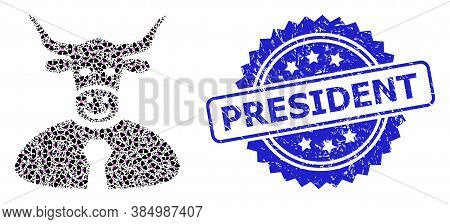 President Dirty Seal And Vector Recursive Mosaic Bull Boss. Blue Seal Contains President Text Inside
