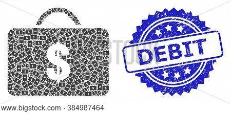 Debit Dirty Stamp And Vector Recursive Mosaic Business Case. Blue Stamp Has Debit Title Inside Roset