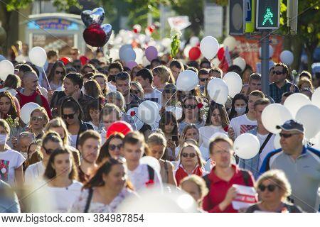 Belarus, The City Of Gomel On August 14, 20120. People At The Rally Against The Dictator Lukashenko.