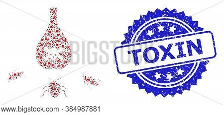 Toxin Textured Seal Print And Vector Fractal Mosaic Cockroach Poison. Blue Stamp Seal Includes Toxin