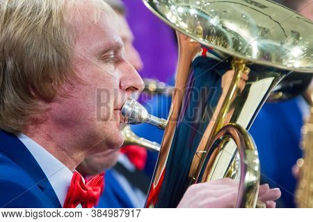 Belarus, The City Of Gomel, March 29, 2017. City Holiday. The Musician Of The Orchestra Plays The Tr