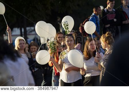 Belarus, The City Of Gomel, August 14, 20120. People At The Rally Against The Dictator Lukashenko. P
