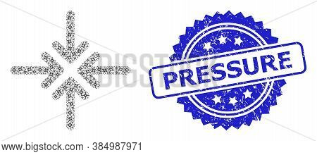 Pressure Textured Stamp Seal And Vector Recursive Composition Collapse Arrows. Blue Stamp Seal Has P