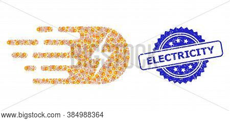 Electricity Unclean Stamp Seal And Vector Recursive Mosaic Electricity. Blue Stamp Seal Has Electric