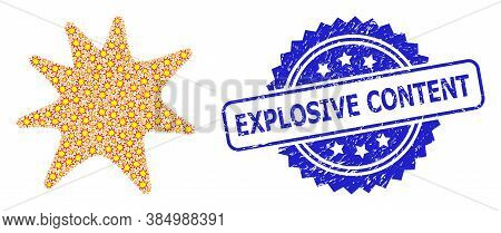 Explosive Content Scratched Stamp Seal And Vector Recursion Mosaic Exploding Boom. Blue Stamp Seal H