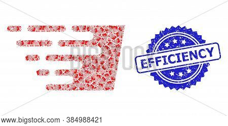 Efficiency Grunge Seal And Vector Recursive Composition Fast Effect. Blue Seal Includes Efficiency T