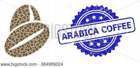 Arabica Coffee Corroded Stamp Seal And Vector Fractal Composition Cacao Beans. Blue Stamp Seal Inclu