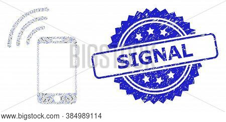 Signal Dirty Stamp Seal And Vector Recursion Mosaic Cellphone Signal. Blue Stamp Has Signal Tag Insi