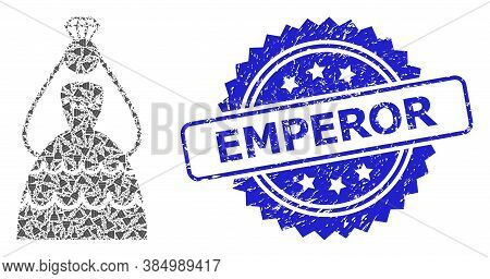 Emperor Scratched Stamp Seal And Vector Recursive Mosaic Crowned Bride. Blue Stamp Seal Contains Emp