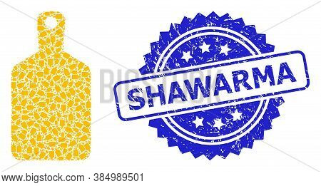 Shawarma Grunge Stamp Seal And Vector Recursive Mosaic Cutting Board. Blue Stamp Seal Includes Shawa