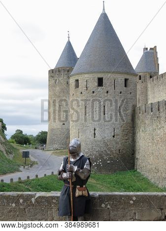 Carcassonne, France - Circa August 2018: Medieval Knight Dressed In Armour