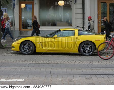 Goteburg, Sweden - Circa August 2017: Yellow Chevrolet Corvette Car Parked In The City Centre
