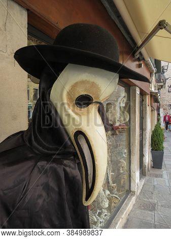Venice, Italy - Circa March 2018: Black Death Doctor Mask