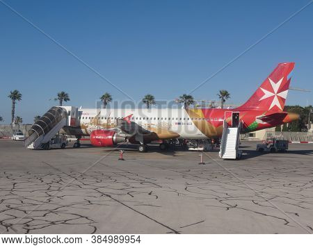 Valletta, Malta - Circa May 2019: Air Malta Airbus A320 Parked At The Airport Ready For Boarding