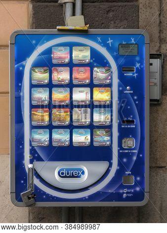 Cagliari, Italy - Circa October 2019: Durex Condoms Vending Machine