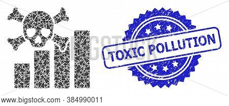 Toxic Pollution Grunge Seal And Vector Fractal Collage Death Chart. Blue Seal Contains Toxic Polluti
