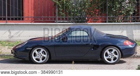 Bologna, Italy - Circa August 2017: Dark Blue Maserati Sport Car