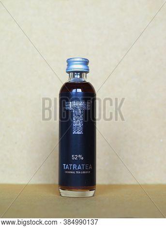 Bratislava, Slovakia - Circa July 2018: Tatratea (aka Tatra Caj) Typical Slovak Liquor Produces In T