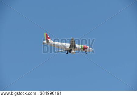 Lisbon, Portugal - Circa June 2015: Tap Air Portugal Airbus A320 Flying