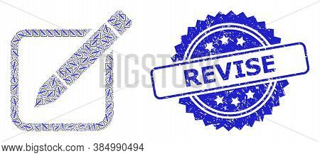 Revise Unclean Stamp Seal And Vector Recursive Collage Edit Pencil. Blue Stamp Seal Contains Revise