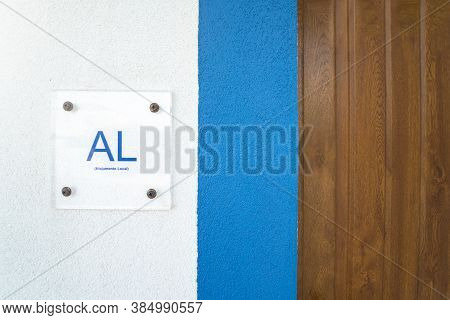 Al Symbol, Sign On The Side Of A House Door. Alojamento Local Is The Official Name Of The Guest Hous