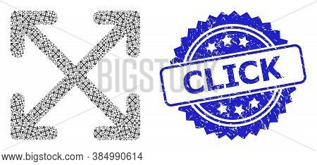 Click Scratched Stamp Seal And Vector Fractal Mosaic Enlarge Arrows. Blue Stamp Seal Contains Click