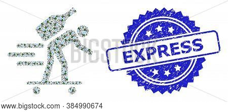 Express Rubber Seal And Vector Fractal Collage Express Wine Courier. Blue Stamp Seal Has Express Cap