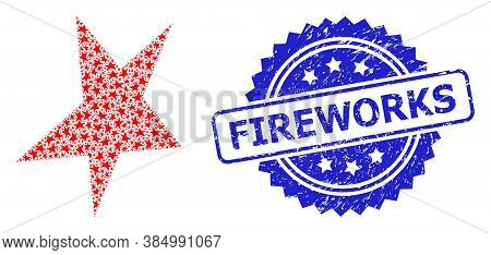 Fireworks Dirty Stamp Seal And Vector Recursive Collage Asymmetrical Star. Blue Stamp Has Fireworks