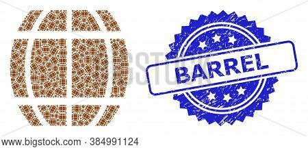 Barrel Corroded Stamp And Vector Recursive Mosaic Barrel. Blue Stamp Seal Contains Barrel Title Insi