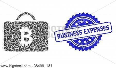 Business Expenses Scratched Stamp Seal And Vector Fractal Collage Bitcoin Case. Blue Stamp Contains
