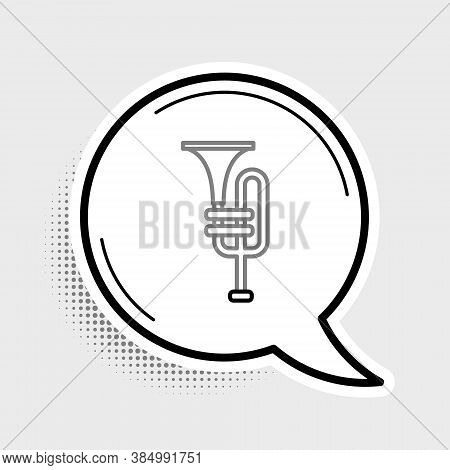 Line Musical Instrument Trumpet Icon Isolated On Grey Background. Colorful Outline Concept. Vector