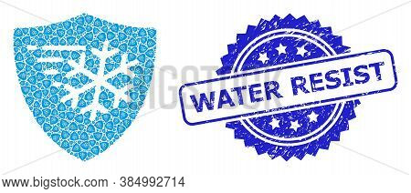 Water Resist Corroded Seal And Vector Recursion Collage Frost Protection. Blue Stamp Seal Has Water