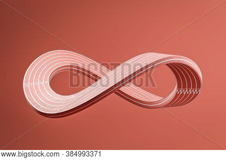 Bright Pink Mobius Strip Over Red Background. Concept Of Infinity. Abstract Image. 3d Rendering