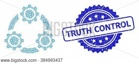 Truth Control Scratched Stamp Seal And Vector Fractal Composition Gear Planetary Transmission. Blue
