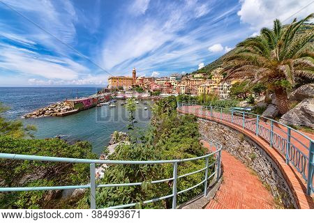 Nervi, Italy - July 22, 2018: Nervi Village As Seen From